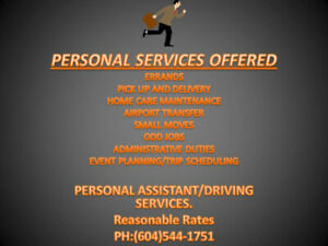 Offering Personal Assistant/Driving Services