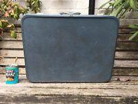 Vintage 1950s original American MONARCH blue suitcase.