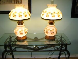 2 matching antique table lamps