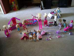 Assorted Barbies and accessories