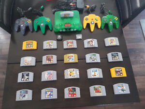 Jungle Green DK64-N64 bundle with 21 games, 4 controllers, etc.
