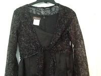 size M BLACK with SILVER  STRETCH lace cropped top long sleeve.