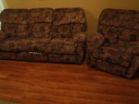 Reclining 3 seat sofa and armchair