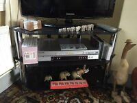 Black glass corner tv stand
