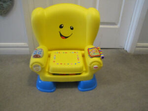 Yellow fisher price laugh and learn chair