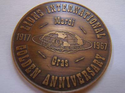 1967 LIONS INTERNATIONAL 50TH ANNIVERSARY Antique Bronze Mardi Gras Doubloon