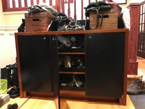 Customs built - Wood storage cabinet with slide-out shelves