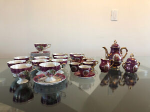 Vintage gold trimmed China Tea and Coffee Set with teapot
