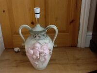 Italian Ceramic 2 Handle Urn Table Lamp with Pink Cherubs H19in