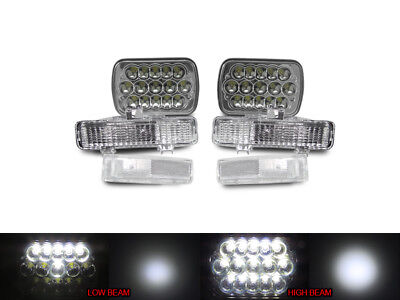 Full LED High+Low H6054 7x6 Headlight + Clear Corner +Bumper For 82-93 Chevy S10