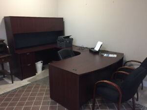 Office desk with Hutch and chairs