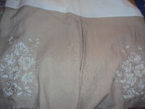 Queen size linen embroidered bed skirt, new condition