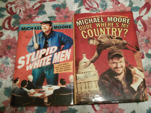 2 MICHAEL MOORE HARDCOVER BOOKS (STUPID WHITE MEN AND DUDE WHERE