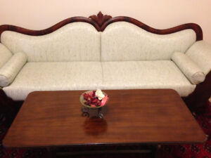 Antique Victorian Style Sofa and Coffee Table