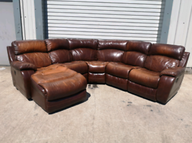 Tan leather corner sofa couch suite 🚚🚚