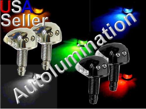 Black Chrome LED Windshield Washer Wiper Hood Mounted Spray Nozzles Nozzle