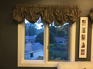 "5 Balloon shade valances with 3"" wide extension rod pocket rods"