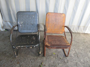 Original Antique (c1940) Metal Chairs - Basket Weave Pattern