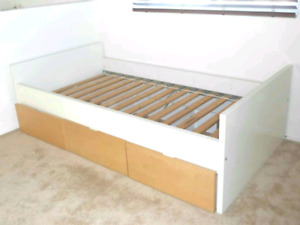 Ikea single twin bed frame with 3 drawers