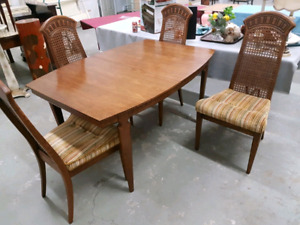 Hardwood table with vintage chairs