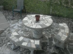 PATIO TABLE WITH MARBLE INSERTS