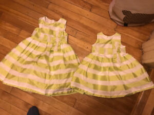 Holiday stripe matching girls dresses - 24m and 4T