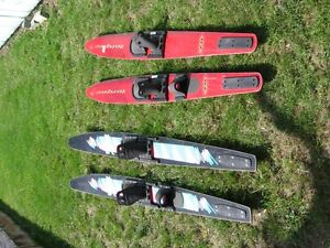 two pairs of water skiis