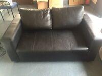 Small 2 seater black leather sofa