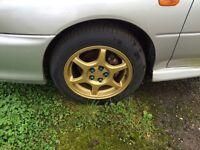 "Gold Subaru wrx alloys 16"""