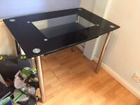 Black gloss glass dining table