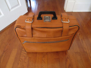 Vintage Leather Suitcase from Poland