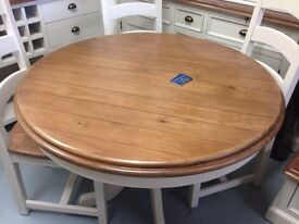 Painted pine round pedestal dining table