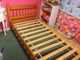 Single pine bed and mattress