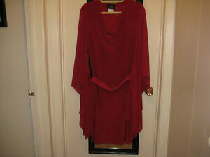 A Red & A Black Butterfly Sleeve Dress with Belt