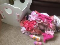 Baby dolls cot, clothes and barbie