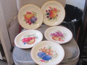 1960s HAND PAINTED BONE CHINA PLATES $2 EA. FRUIT COLORS DECOR