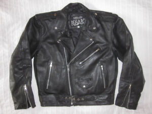Black Leather Motorcycle Jacket by Pegabo (Small).