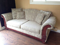 Tan Patterned Couch with Mahogany Wood Trim for Sale! $300 OBO