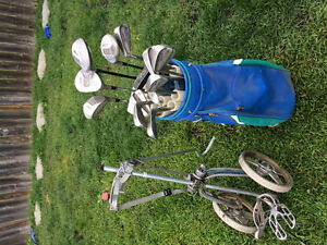 Golf clubs, bag, cart