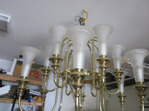 Solid Brass chandelier with fluted glass fixtures