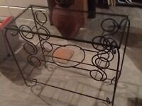 Iron side table with glass top