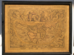 Vintage 17 Inch X 13 Inch Framed Print of 1694 Map of the World