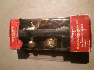New deadbolt and handle set