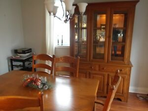 Solid oak dining set and matching stools