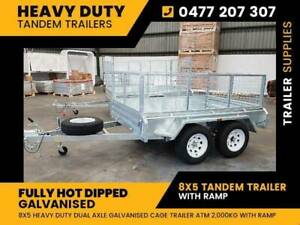 New 8X5 Galvanised Tandem Trailer with Ramp for Sale