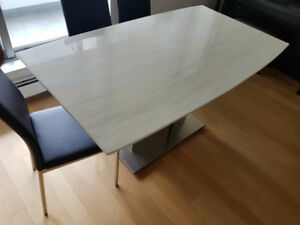 New White Marble Dining Table