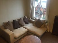 Lovely large beige sofa for sale - can be corner sofa or arranged otherwise!