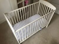 Mamas and Papas Wooden Cot in White and Sprung Anti-Allergy Mattress