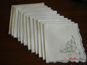 12 Antique Dinner Napkins - Lovely Hand Embroidered Linen