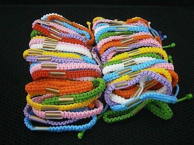 MAGIC LOT OF 50 BRASS TAKRUD THAI AMULET BRACELET COLORFUL